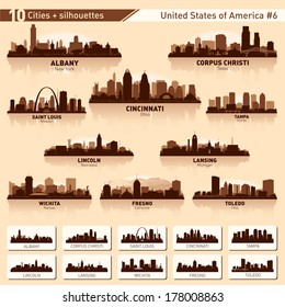 City skyline set. 10 vector city silhouettes of USA #6