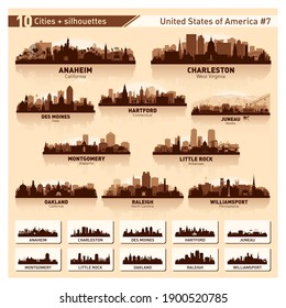 City skyline set. 10 vector silhouettes of USA #7