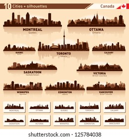 City skyline set. Canada. Vector silhouette illustration.