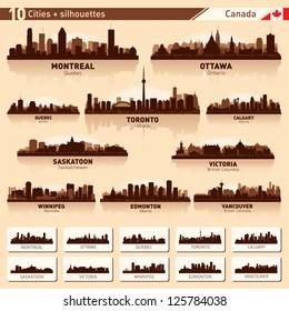 City skyline set. Canada. Vector silhouette illustration.