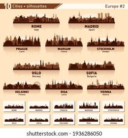City skyline set. Europe #2. Vector silhouette background illustration.