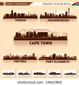 City skyline set South Africa Vector silhouette illustration.