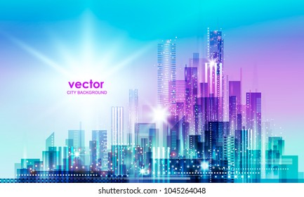 City skyline silhouette at sunset, illustration with architecture, skyscrapers, megapolis, buildings, downtown.