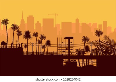 City skyline silhouette at sunset. Skyscappers, towers, office and residental buildings. Palm tree and cityscape under sunrise sky. Vector illustration