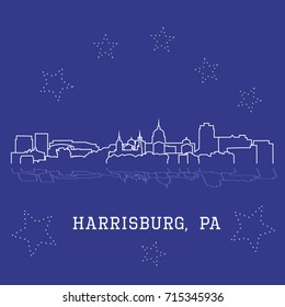 City skyline sketch of Harrisburg, Pennsylvania, with main buildings and landmarks