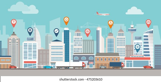 City skyline, street and location pins: urban lifestyle and navigation concept