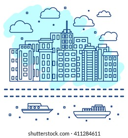 City skyline, urban landscape in linear style, vector illustration