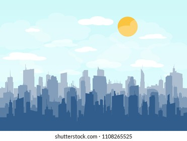 City skyline vector illustration. Urban landscape. Daytime cityscape in flat style. Flat city. Set of buildings. Creative background. Panorama.
