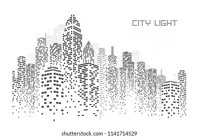 city skyline vector illustration urban landscape created by the position of black windows on white backgrond