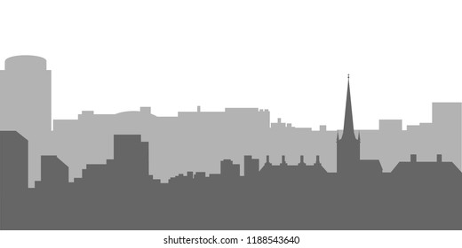 City skyline vector illustration. Urban landscape. Evening cityscape in flat style.