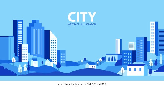 City skyline Vector illustration. Urban landscape. Daytime cityscape