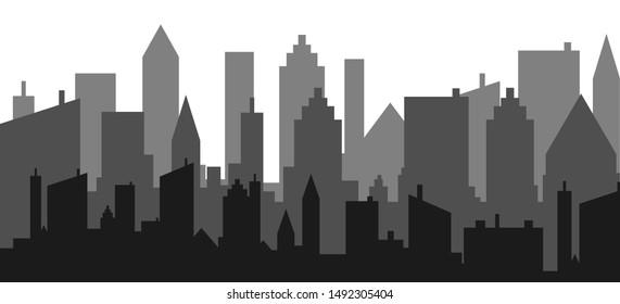 City skyline vector illustration. Urban landscape.skyscraper view silhouette design