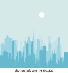 City skyline vector illustration. Urban landscape. Blue city silhouette. Cityscape in flat style. Modern city landscape. Daytime city skyline.