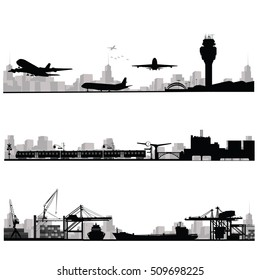 City skyline vector illustration.Traffic and public transportation