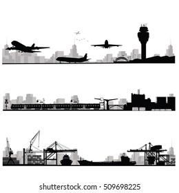 City skyline vector illustration.Traffic and public transportation