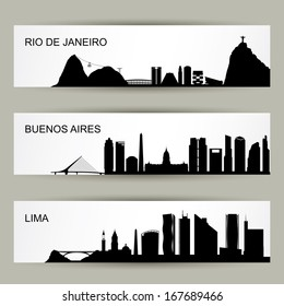 City skylines of Latin America - vector illustration
