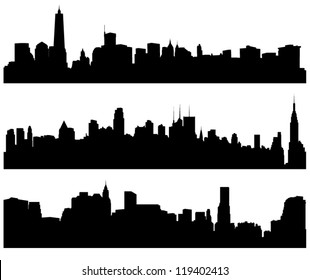 City Skylines Silhouette on white background