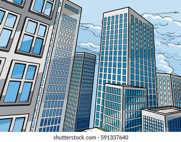 City skyscraper buildings background scene in a cartoon pop art comic book style
