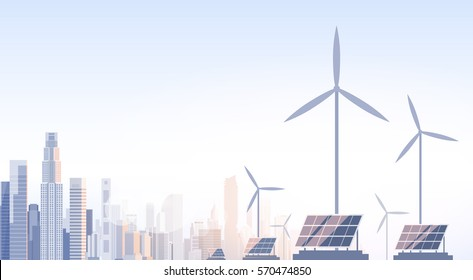 City Skyscraper View Cityscape Wind Tribune Solar Battery Renewable Energy Source Vector Illustration