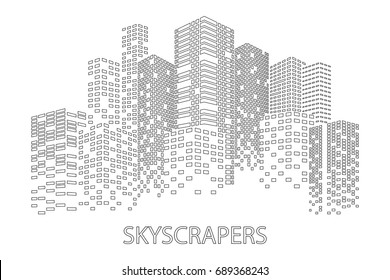 City Skyscrapers contour illustration. Buildings at night. Urban scene. Vector design element isolated on white background.