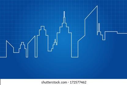 City Skyscrapers Skyline Architectural Blueprint Vector
