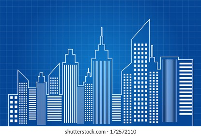 City Skyscrapers Skyline Blueprint Vector