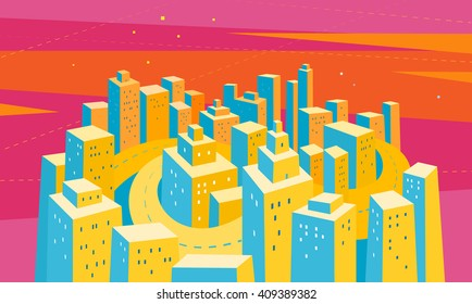 the city of skyscrapers. vector illustration.