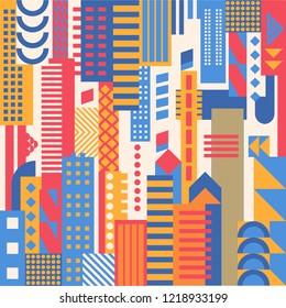 city, smart city concept, modern design. Geometric urban landscape, banner and poster pattern