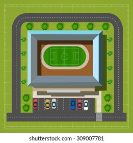 City stadium with a highway with cars and trees top view