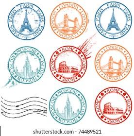 City stamps collection with symbols: Paris (Eiffel Tower), London (London Bridge), Rome (Colosseum), Moscow (Lomonosov University)