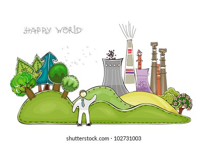 "City street background ""Happy world"" collection"
