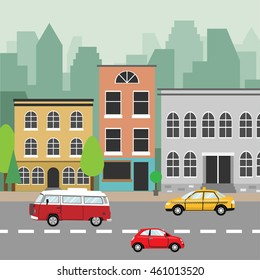 City street. Buildings, skyscrapers in the background, vehicles. Flat style vector illustration.