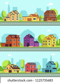 City street with buildings, suburban road and houses, cottages. Vector seamless horizontal cityscapes colored cottage suburban, road and facade illustration