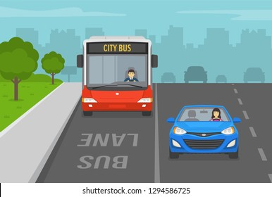 City street with bus lane. Front view of bus and car. Flat vector illustration.