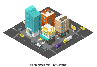 City street cafe and bank. Town district quarter Isometric road 3d. Cars end buildings top view. Vector illustration.