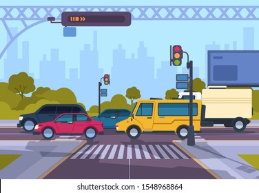 City street. Cartoon town cityscape with cars and crosswalk, town traffic on crosswalk. Vector urban highway landscape illustration. Horizontal flat panoramic image crossing roads morning