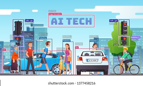 City street crossing through eyes of AI computer vision & surveillance object detection system recognizing & analyzing traffic, cars, people. Artificial intelligence tech. Flat vector illustration