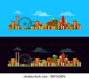city street facades of buildings, day and night, city vector background