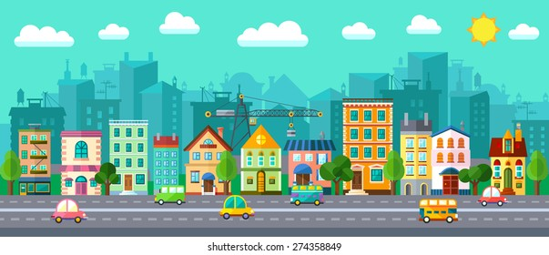 City Street in a Flat Design and Set of Urban Buildings