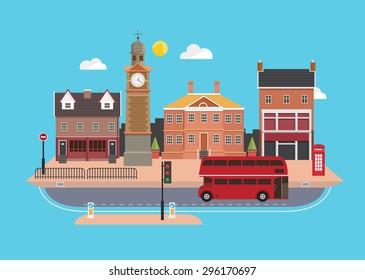 City street in flat design style, United Kingdom