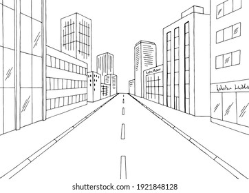 City street graphic black white cityscape sketch illustration vector