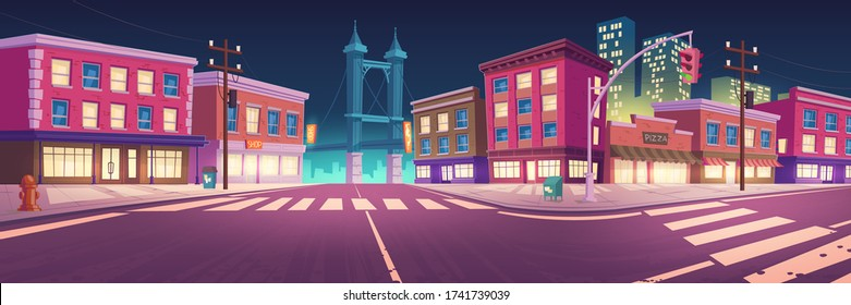 City street with houses, road with pedestrian crosswalk and traffic lights at night. Vector cartoon cityscape, urban landscape with buildings with lit windows, overpass road and skyscrapers