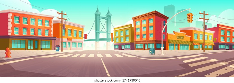 City street with houses, road with pedestrian crosswalk and traffic lights. Vector cartoon cityscape, urban landscape with residential buildings, overpass road and skyscraper on background
