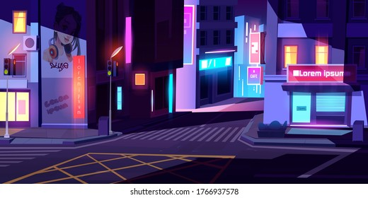 City street with houses, road with pedestrian crosswalk, traffic lights and store front with banner at night. Vector cartoon cityscape, urban landscape with residential buildings and shops