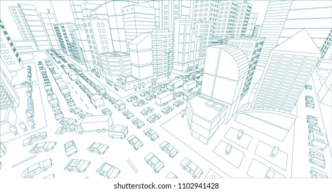 City street Intersection traffic jams road 3d drawing. Blue lines outline contour style Very high detail projection view. A lot cars end buildings top view Vector illustration