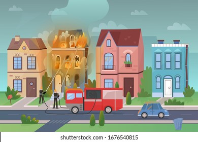 City street landscape at disaster massive fire flat cartoon vector illustration panorama. Firemen fight with flame by water stream from special truck. Burning building damages too much. Poster, banner