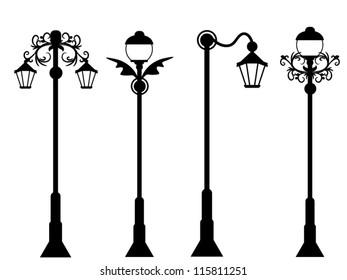 City street lanterns set
