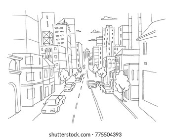 City street linear perspective sketch road view. Cars end buildings. Hand drawn vector stock line illustration.