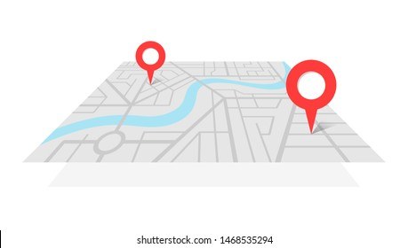 City street map plan with GPS pins and navigation route from A to B point markers. Vector gray color perspective view isometric illustration location schema