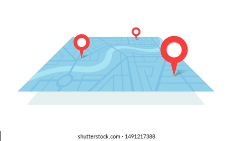 City street map plan with GPS place pins and navigation route from A to B point markers. Vector blue color perspective view isometric illustration location schema